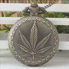 New Cannabis Weed Hemp Maple Leaf Plant Quartz Pocket Watch Full Hunter Chain