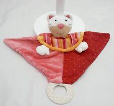 Baby Club Doudou hochet anneau dentition chat rose velours tissu 27 x 35 cm