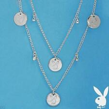 NEW Playboy Necklace Bunny Charm Logo Swarovski Crystal Long Chain Silver Plated