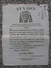 S616-STATO PONTIFICIO-PERMESSO MACELLARE MAIALI-BOLOGNA