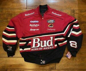 Dale Earnhardt Jr #3 Bud King of Beers Red Jacket Mens Size Large NASCAR 2000