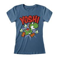 Official Nintendo Super Mario Yoshi T Shirt Ladies Skinny Retro Game 8 Bit NEW