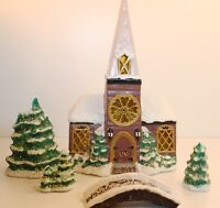 Ceramic Mold Church Snowy Trees Bridge Christmas Winter Scene Set of 5 Vintage