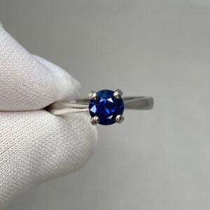 Deep Blue 1.02ct Sapphire Platinum Solitaire Ring Round Cut Gemstone