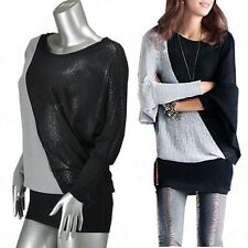 New Women Casual Loose Batwing Long Sleeve T-Shirt Pullover Tunic Tops Blouse