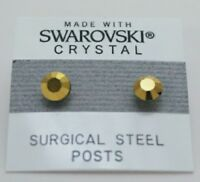 Gold Round Circle Stud Earrings 6mm Shimmer Crystal Made with Swarovski Elements