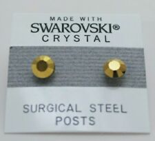 6mm Gold Shimmer Crystal Round Stud Earrings Made with SWAROVSKI ELEMENTS