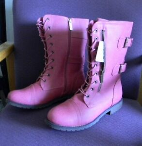 NEW DailyShoes HOT PINK WOMENS MILITARY COMBAT WALLET POCKET CARD BOOTS Sz 11