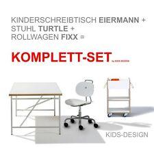 KOMPLETT-SET - Kinderschreibtisch Eiermann 120 x 70 cm + Stuhl weiß + Container!