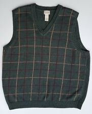 LL Bean Green Plaid Cotton Sweater Vest Size XL