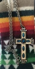 Vintage Native American Large Cross Necklace Turquoise Color Stones Silver Tone
