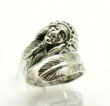 Navajo Indian Head Feather Sterling Silver 925 Ring 10g Sz.7.25 WW527