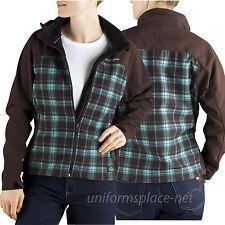 Dickies Jacket Women Storm Softshell Plaid detachable hood Water Resistant FJ371