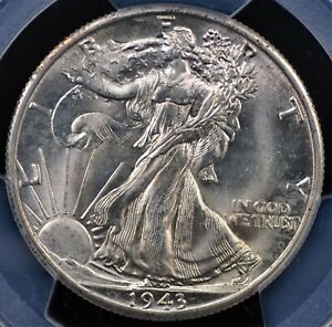 1943 D WALKING LIBERTY HALF PCGS MS 65 EXCELLENT STRIKE LUSTER AND MINT BLOOM