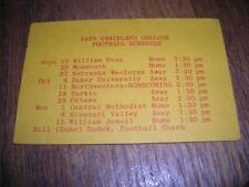 1975 Graceland College Football pocket schedule, excellent condition