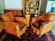 "LEATHER CLUB CHAIRS  French Art Deco ""Le Chalet de Courchevel""1930s."