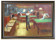 Framed High Quality Oil Painting of People Playing Billiards At Pool Room 28X40""