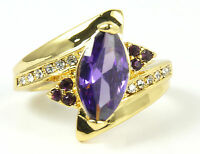 Women's 10 Carat Gold Filled Purple Crystal Ring Jewellery Size R