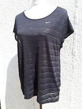 Nike Dri-Fit Ladies Size L 16 18 Black Fitness Sports Top Lockdown Curve Fashion