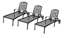 Patio chaise lounge set 3 adjustable outdoor Elisabeth cast aluminum Bronze