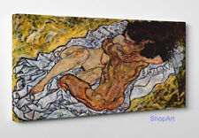 Egon Schiele The Embrace L'Abbraccio Stampa su Tela Vernice Effetto Pennellate