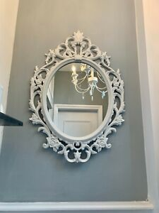 White Ornate Large Vintage French Rocco luxury Mirror