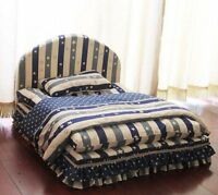 New Stripe Cotton Handmade Pet Dog Cat Sofa Bed House +Blanket Pillow Blue/Brown