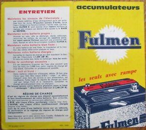 Fulmen Car Battery 1950s French Advertising Booklet/Brochure