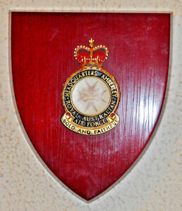 Royal Australian Air Force Headquarters Amberley mess wall plaque shield RAAF HQ