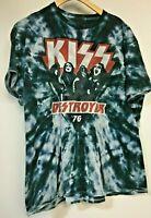 KISS DESTROYER '76 Tour Rock Band Tie Dye Concert Graphic T-Shirt XL 2016 Blue