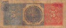 Mexico / Minero  5 Pesos  1910  M 132a Series V .3  Circulated Banknote