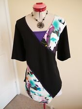 TAKING SHAPE Black White Purple TOP Size S 16 BNWT NEW Stretch Blue Grey Green