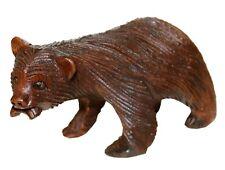 Holztier Bär mit Fisch Figur Schnitzerei Handarbeit Braunbär Zoo Dekoration