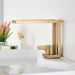 Basin Faucet Brushed Gold Modern Washbasin Faucet Luxury Bathroom sink Mixer Tap