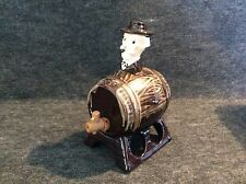 Vintage Whiskey Barrel Old Man Head Cork Wood Tap Hand Painted Porcelain
