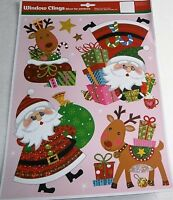 CHRISTMAS Window Cling  SANTA and HIS REINDEER WITH CHRISTMAS GIFTS
