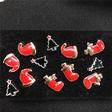 6 Pairs Cute Women Christmas Hat Socks Tree Ear Stud Earrings Xmas Gift Jewelry