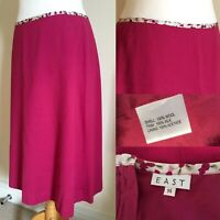 "EAST Raspberry Pink 100% WOOL Crepe A LINE Skirt Sz 14 L26"" Silk Trim LINED B9"