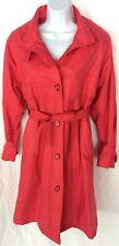Women's London Fog Wamsutta Pink Long Classic  Trench Coat Jacket Size 2 Petite