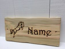 Handmade Personalised Rustic Wooden Pony Horse Stable Name Room Sign Plaque #2