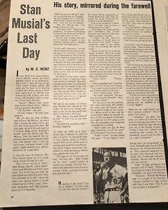 SEPT 1963 STAN MUSIAL 'S LAST DAY ARTICLE PLUS AD STAN THE MAN  OF STEEL MLB HOF