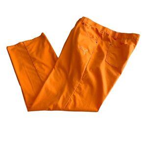 Puma Golf Pants Bright Orange Men's 40 X 32 Zip Close Embroidered Puma Logo