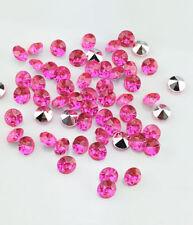 DIY 30 ud cuentas brillantes strass 6mm cristal rosa fucsia abalorios