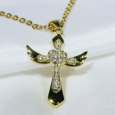 18K Yellow Gold Filled Women Fashion Jewelry Necklace Angel Cross Pendant P2821