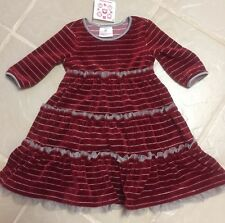 New Hanna Andersson Cranberry Striped Velour Dress sz 90 ( 2-3.5 yr)