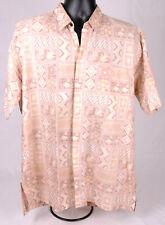 Batik Semar Shirt-3L-Button Front-Tan-Geometric-Vtg-S hort Sleeve