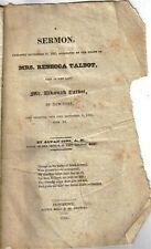 Original 1825 Sermon Preached on the Death  Mrs. Rebecca Talbot of NY