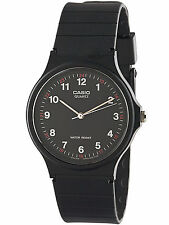 Casio MQ24-1B, Classic Analog Watch, Black Resin, Black Dial, Water Resistant