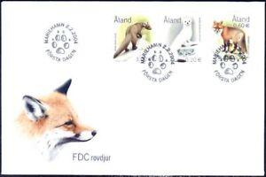 Endangered Animals Predators Ermine Marten Red Fox Aland Finland FDC 2004