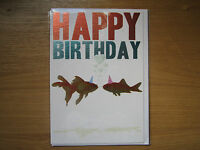 Sealed Happy Birthday Greeting Card Goldfish Party Hat Design (122)